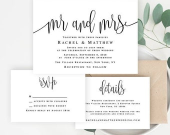 Invitation wedding template Mr and Mrs invitation suite template DIY Wedding invitation set Wedding invitation downloadable templates #vm41
