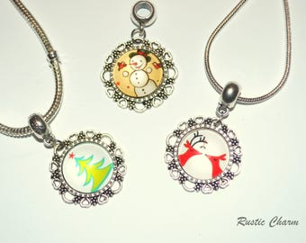 Christmas Theme Charm Bracelet and Necklace, Santa, Reindeer, Snowman, Christmas Tree