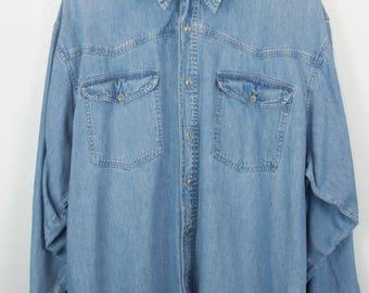 Vintage shirt, jeans shirt, light denim, long sleeves, oversized