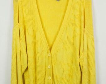 Vintage Cardigan, Vintage Knitwear, 80s, 90s, yellow, oversized [SC]