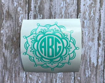 Monogram Mandala Decal | Mandala Decal | Monogram Decal | Monogram Yeti Decal | Mandala Car Decal | Laptop Decal | Car Decal