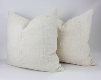 """Mudcloth Bed Pillow Covers - Natural 22x22 Mudcloth - Bed Pillow Covers - Pair 22"""" Double Sided"""