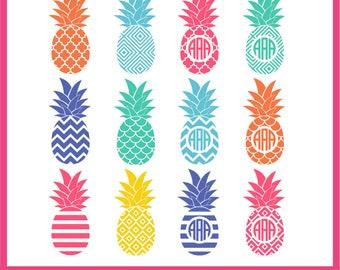 Pineapple SVG, Pineapple Monogram Frame Svg, DXF, PNG Formats 0063