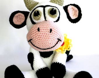 READY TO SHIP, Dairy Cow, crochet cow, stuffed animal, crochet toy, baby boy toy, baby girl toy, personalised toy, white stork creations