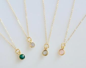 Mini Gemstone Drop Necklace, Simple Bezeled Gemstone Drop Necklace in 14K Gold Fill or Sterling Silver, Tiny Pendant Necklace