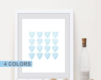 Baby room decor, Pastel nursery wall art, Watercolor Heart print, Baby room poster, Watercolor nursery, Baby gift