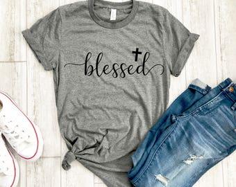 Womens blessed shirt -  blessed tshirt - Cross tee - Womens Christian apparel - Womens Christian shirt - Easter shirt - Womens Easter shirt