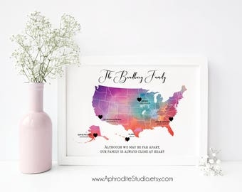 Gift for family - Personalized Family Gift - Military family print - Long distance family print - Going away gift - Nomad family gift US map