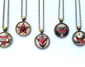 Vintage Tattoo Collection 1 Necklace,  Silver or bronze