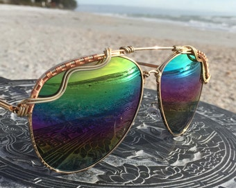 RAiNBOW Reflective <> AViATOR SPuNGLaSSeS <> Gold Black Wire Wrap <> Unisex men's womens <> Sunglasses Unisex Eyewear <> FREE Shipping