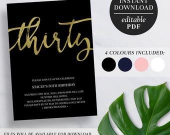 Printable 30th Birthday Invitation Gold Foil | Editable Template | Faux Foil | 30 | Thirty | 30th Birthday Invite | Navy | Pink | Black