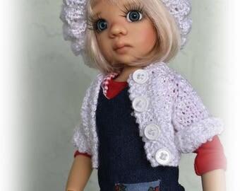 Denim Apple-n-Radish dress with pocket & sweater/tam set* Kaye Wiggs MSD BJD dolls. BJD doll/model/props *not* included.