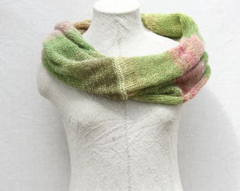 Bridesmaid shawl / Knit mohair wrap shawl / Infinity scarf / Cozy bohemian shoulder warmer / Hand knitted mohair shawls - Rhubarb Flower