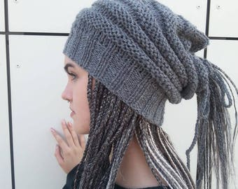 Gray Dreadlocks Hat, Dreadlock Beanie, Dreadlocks Tube, Rasta Dreadlocks Hats, Gift for Her, Dreadlocks Wraps, Slouchy Hats, Ready to ship