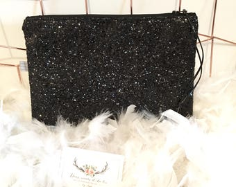 Black sequin evening clutch bag