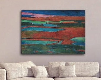Abstract Painting Original Blue Red Green Textured Painting Canvas Art stretched Contemporary Abstract Modern Art
