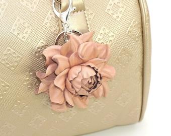Genuine Leather Flower Bag Charm, Nude Pink Rose Purse Clip, Real Leather Rose Flower Bag Clip, Keychain Rose Clasp, Handbag Zipper Charm