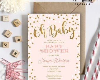 Pink and Gold Baby Shower Invitation | 5x7 | Editable PDF | Instant Download | Personalize with Adobe Reader
