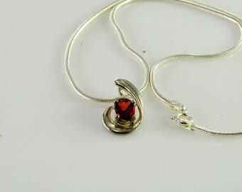 "Red Stone Pendant on a 15"" Snake Chain All Sterling"