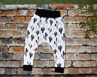 Cactus Harem Pants, Black and White Harem Pants, Hammer pants, Baby harem pants, Toddler harem pants, Baby joggers, toddler joggers, cactus