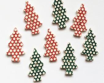 8 Christmas Tree Buttons, Christmas Buttons, Handmade Buttons, Christmas Crafts.