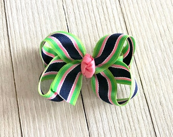 Small Twisted Boutique Hair Bow - Boutique Hair Bow - Stripes  - Baby Girl Toddler - Headband - Pink Green Navy White - Baby Gift - Pigtails