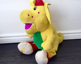 "Vintage 24"" Barney BJ Plush Stuffed Animal Yellow DInosaur 1992 The Lyons Group Plushie Dino Classic 90s TV Show Cartoon Original Huge"