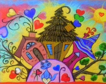 My Home - Doodling felted art,  Felt picture, Wool painted, Needle felted, Doodling houses, Textile art, Fiber art, Wall art,