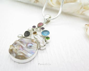 Pink Drusy Blue Topaz Peridot Fresh Water Pearl Sterling Silver Pendant and Chain