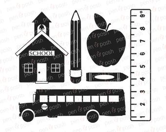 Svg - School SVG - Back to School Svg - School House Svg - Apple Svg - Ruler SVG - Crayon SVG - Pencil Svg - School Bus Svg