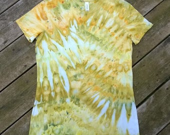 Hand Dyed T-Shirt - Ladies Large with longer length - Yellow, Chartreuse & Light Green - Springtime Delight - Tie Dye