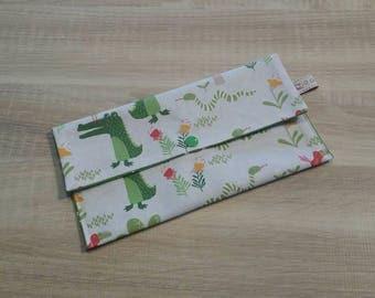 Fabric bag is customizable to hold his towel canteen CROCODILE.