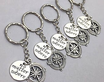 Five Friends, Distance Friendship 5, Set of 5 bff keychains, bff charm, bff keychain, set of 5 best friend,no matter where, 5 Friend Gift