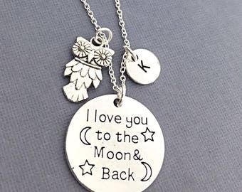 To the moon and back necklace, I love you to the moon and back charm pendant, personalized, initial charm necklace, I love you to the moon