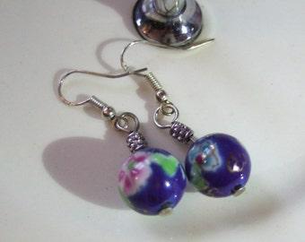 Ceramic Flower Bead Earrings Sterling Silver