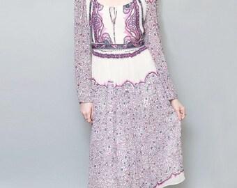 Vintage 1970's Premium Purple & White Paisley Midi Dress