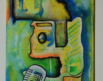 """Elvis Abstract acrylic on canvas Painting """"The King"""""""