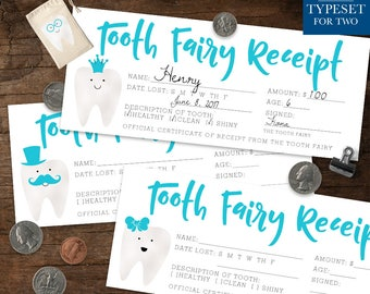 Tooth Fairy Receipt - Tooth Fairy Certificate - 9 Different Designs - Tooth Fairy Accessories - Lost Tooth - Blue - Teal - Instant Download