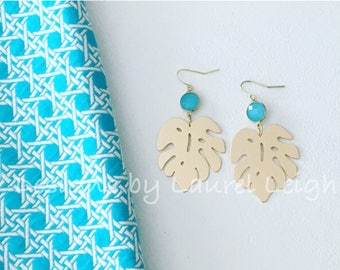 GOLD and Turquoise Palm Leaf Earrings | lightweight, gold, aqua