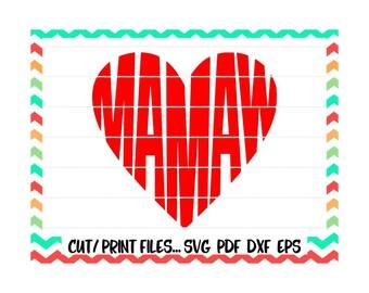 Mamaw Cutting File, Mamaw Svg, Heart Svg, Printable PDF, Silhouette Cameo, Cricut & More.