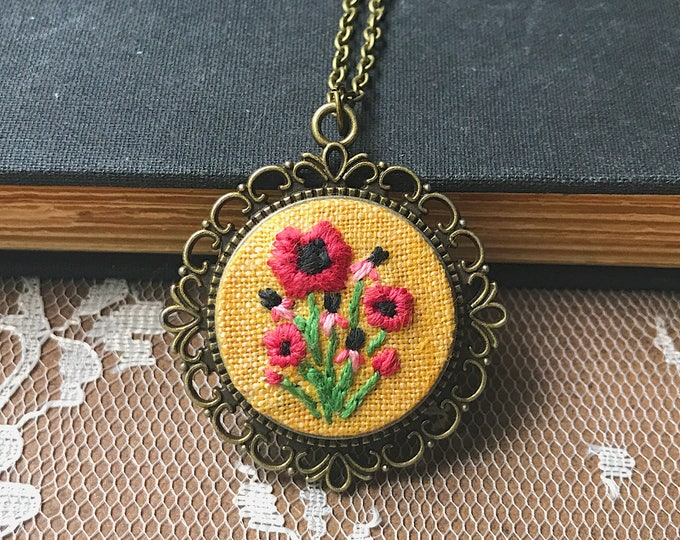 Hand Embroidered Poppy Pendant
