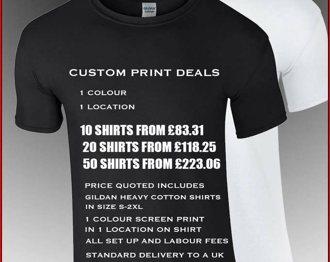 Featured listing image: custom t-shirt printing - promote your company or brand with our custom service. Low minimums, low prices, Nameless City Apparel quality