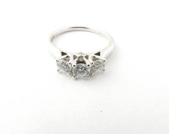 Vintage 14 Karat White Gold Past, Present and Future Diamond Ring Size 7 #2933