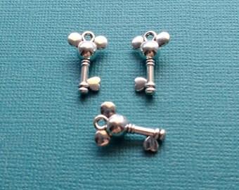 10 Mouse Head Key Charms Silver - CS2812