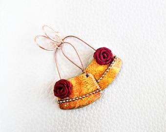 Red Roses hoops earrings