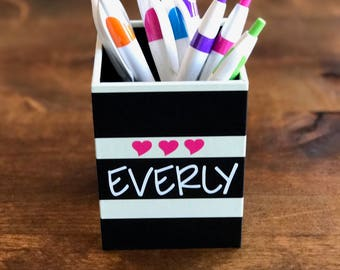 Personalized Pencil Cup, Personalized Pen Cup, Desk Accessories