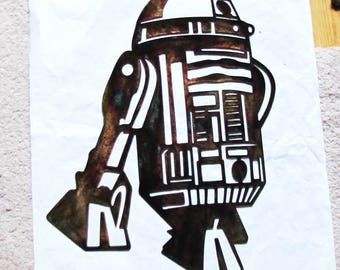 Metal Star Wars R2D2 STAR WARS Character Robot Star Wars Logo Emblem Figure Metal Steel Wall Art Sign Design Decor Patina Plated