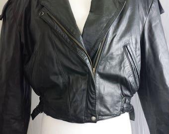 Fidelity Womens Jacket Leather Biker Motorcycle Crop Coat Black Vtg Sz L 13/14