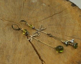 Earrings dangle earrings, dragonfly, Crystal rhinestone
