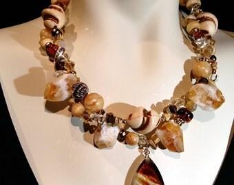 Big and bold, Smoke topaz glass pendant with chunks of crystal, beach, cruise wear,  elegant